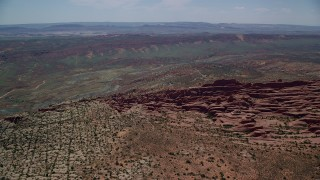 AX137_061 - 6K stock footage aerial video of orbiting Fiery Furnace rock fins and formations at Arches National Park, Utah