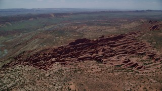 AX137_062 - 6K stock footage aerial video of circling the Fiery Furnace rock fins and formations, Arches National Park, Utah