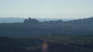 AX138_009 - 6K stock footage aerial video of a wide view of buttes and rock arches at Arches National Park, Utah