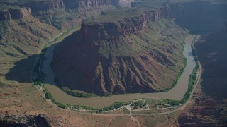 AX138_014 - 6K stock footage aerial video of Colorado River in Big Bend Canyon in Arches National Park, Utah