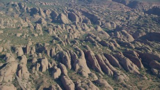 AX138_035 - 6K stock footage aerial video of a view of petrified sand dunes at Sand Flats Recreation Area, Moab, Utah