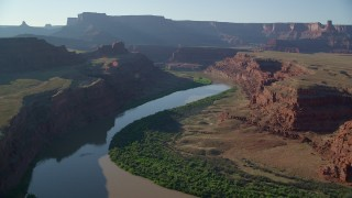 AX138_110 - 6K stock footage aerial video of the Colorado River through Meander Canyon in Canyonlands National Park, Utah
