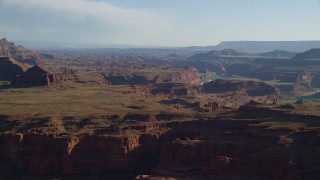 AX138_112 - 6K stock footage aerial video of passing Pyramid Butte and Meander Canyon in Canyonlands National Park, Utah