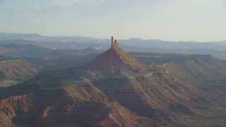 AX138_264 - 6K stock footage aerial video of approaching North Six-Shooter Peak, Moab, Utah