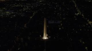 AX141_064 - 6K stock footage aerial video orbiting Bunker Hill Monument, Charlestown, Massachusetts, night
