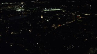 AX141_099 - 6K stock footage aerial video orbiting the campus, Lowell House, Adams House, Harvard University, Massachusetts, night