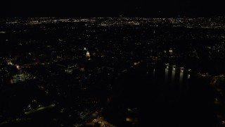 AX141_113 - 6K stock footage aerial video flying by the Lowell House, Harvard University, Massachusetts, night