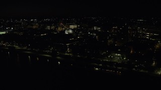 AX141_158 - 6K stock footage aerial video flying by Maclaurin Building, Massachusetts Institute of Technology, Cambridge, Massachusetts, night