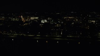 AX141_159 - 6K stock footage aerial video flying by Maclaurin Building, Massachusetts Institute of Technology, Cambridge, Massachusetts, night