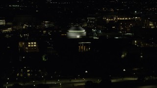 AX141_160 - 6K stock footage aerial video of Maclaurin Building, Massachusetts Institute of Technology, Cambridge, Massachusetts, night