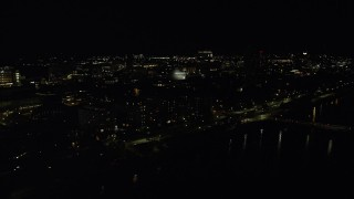 AX141_163 - 6K stock footage aerial video approaching Maclaurin Building, Massachusetts Institute of Technology, Cambridge, Massachusetts, night
