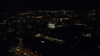 AX141_164 - 6K stock footage aerial video flying over Maclaurin Building, approach Stata Center, Massachusetts Institute of Technology, Cambridge, Massachusetts, night