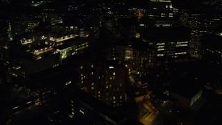 AX141_165 - 6K stock footage aerial video of Stata Center, Galileo Galilei Way, Massachusetts Institute of Technology, Cambridge, Massachusetts, night