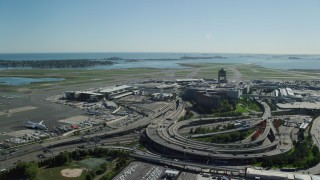 AX142_030 - 6K stock footage aerial video approaching Logan International Airport, Boston, Massachusetts