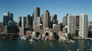 AX142_037 - 6K stock footage aerial video of Rowes Wharf,  One and Two International Place, Downtown Boston, Massachusetts