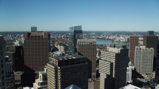AX142_038 - 6K stock footage aerial video of One and Two International Place, reveal Millennium Tower, Downtown Boston, Massachusetts