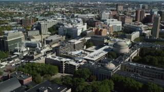 AX142_044 - 6K stock footage aerial video orbiting Massachusetts Institute of Technology (MIT), Cambridge, Massachusetts