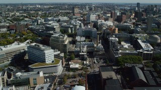 AX142_045 - 6K stock footage aerial video flying by Massachusetts Institute of Technology (MIT), Cambridge, Massachusetts