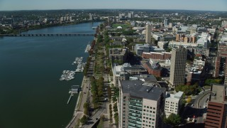 AX142_053 - 6K stock footage aerial video flying by Massachusetts Institute of Technology, Cambridge, Massachusetts