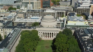 AX142_056 - 6K stock footage aerial video flying by Massachusetts Institute of Technology, Cambridge, Massachusetts