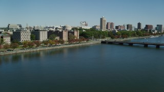 AX142_059 - 6K stock footage aerial video over Charles River, approaching Harvard Bridge, MIT, Cambridge, Massachusetts