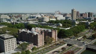 AX142_060 - 6K stock footage aerial video approaching, flying over Massachusetts Institute of Technology, Cambridge, Massachusetts