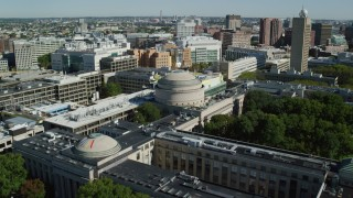 AX142_061 - 6K stock footage aerial video approaching, flying over Massachusetts Institute of Technology, Cambridge, Massachusetts