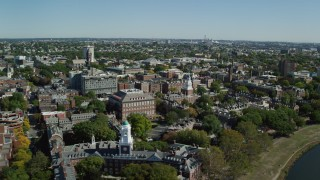 AX142_081 - 6K stock footage aerial video flying by Harvard University, Cambridge, Massachusetts