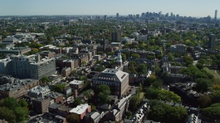 AX142_082 - 6K stock footage aerial video orbiting Harvard University, Cambridge, Massachusetts