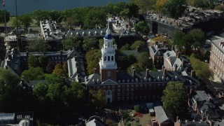 AX142_085 - 6K stock footage aerial video flying by Harvard University, Lowell House, Cambridge, Massachusetts