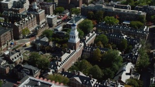 AX142_089 - 6K stock footage aerial video orbiting Harvard University, Lowell House, Cambridge, Massachusetts