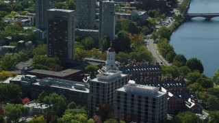 AX142_090 - 6K stock footage aerial video flying by Harvard University, Dunster House, Cambridge, Massachusetts