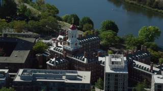 AX142_091 - 6K stock footage aerial video flying by Harvard University, Dunster House, Cambridge, Massachusetts