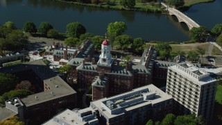 AX142_092 - 6K stock footage aerial video orbiting Harvard University, Dunster House, Cambridge, Massachusetts