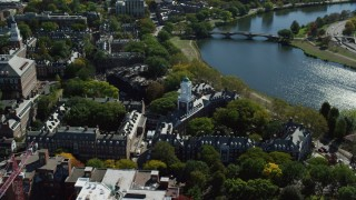 AX142_097 - 6K stock footage aerial video orbiting Harvard University, Eliot House, Cambridge, Massachusetts