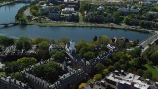 AX142_098 - 6K stock footage aerial video orbiting Harvard University, Eliot House, Cambridge, Massachusetts