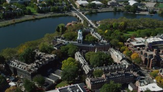 AX142_099 - 6K stock footage aerial video orbiting Harvard University, Eliot House, Cambridge, Massachusetts