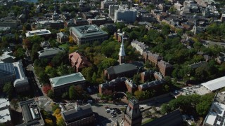 AX142_106 - 6K stock footage aerial video of Harvard University, Memorial Church, Widener Library, Cambridge, Massachusetts