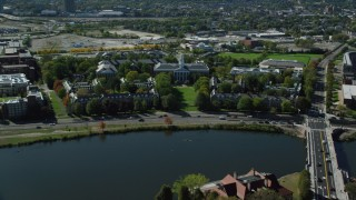 AX142_115 - 6K stock footage aerial video of Harvard University, Harvard Business School, Cambridge, Massachusetts