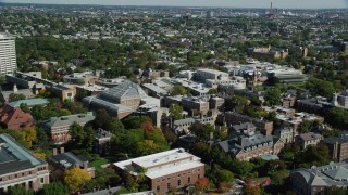 AX142_123 - 6K stock footage aerial video flying over the Harvard University campus, Cambridge, Massachusetts