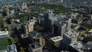 AX142_131 - 6K stock footage aerial video orbiting Beth Israel Hospital, Longwood Medical Area, Boston, Massachusetts
