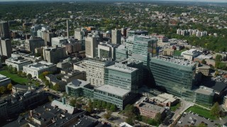 AX142_133 - 6K stock footage aerial video orbiting Longwood Medical Area, Boston, Massachusetts