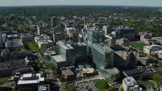 AX142_134 - 6K stock footage aerial video orbiting Longwood Medical Area, reveal Beth Israel Hospital, Boston, Massachusetts