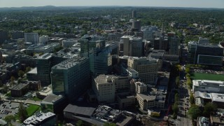 AX142_135 - 6K stock footage aerial video orbiting Beth Israel Hospital, Longwood Medical Area, Boston, Massachusetts