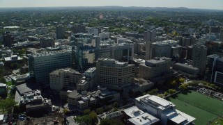 AX142_136 - 6K stock footage aerial video orbiting Beth Israel Hospital, Longwood Medical Area, Boston, Massachusetts