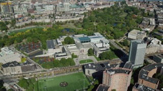 AX142_140 - 6K stock footage aerial video orbiting the Museum of Fine Arts, Boston, Massachusetts