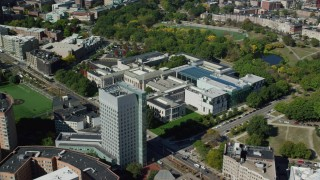 AX142_141 - 6K stock footage aerial video orbiting the Museum of Fine Arts, Boston, Massachusetts