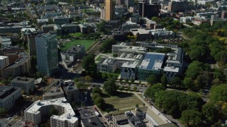AX142_142 - 6K stock footage aerial video orbiting the Museum of Fine Arts, Boston, Massachusetts