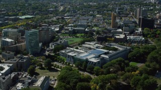 AX142_143 - 6K stock footage aerial video orbiting the Museum of Fine Arts, Boston, Massachusetts