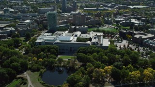 AX142_144 - 6K stock footage aerial video orbiting the Museum of Fine Arts, Boston, Massachusetts